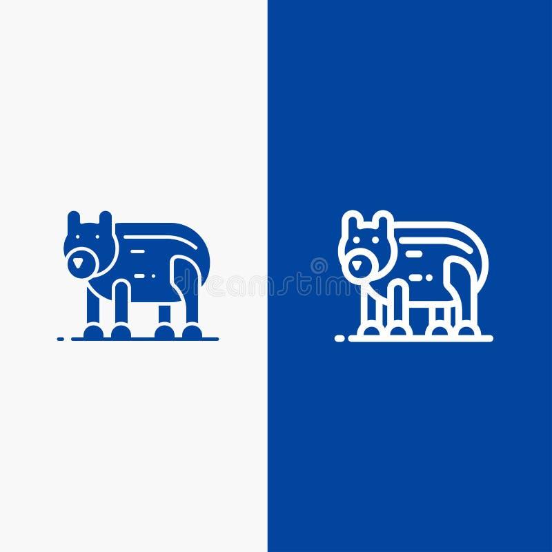 Το ζώο, αντέχει, πολικός, γραμμή του Καναδά και στερεά γραμμή εμβλημάτων εικονιδίων Glyph μπλε και στερεό μπλε έμβλημα εικονιδίων απεικόνιση αποθεμάτων
