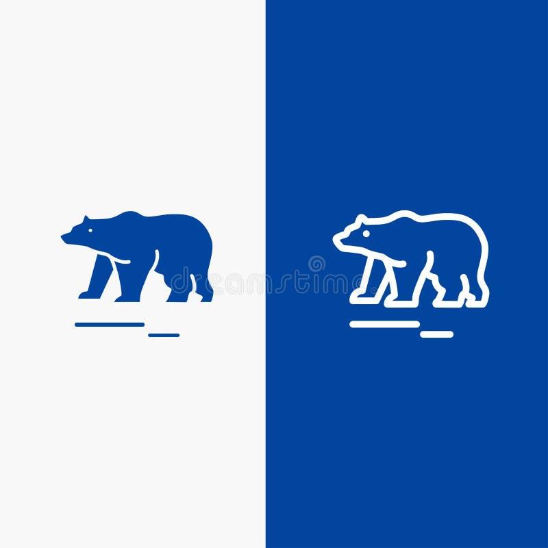 Το ζώο, αντέχει, πολικός, γραμμή του Καναδά και στερεά γραμμή εμβλημάτων εικονιδίων Glyph μπλε και στερεό μπλε έμβλημα εικονιδίων διανυσματική απεικόνιση
