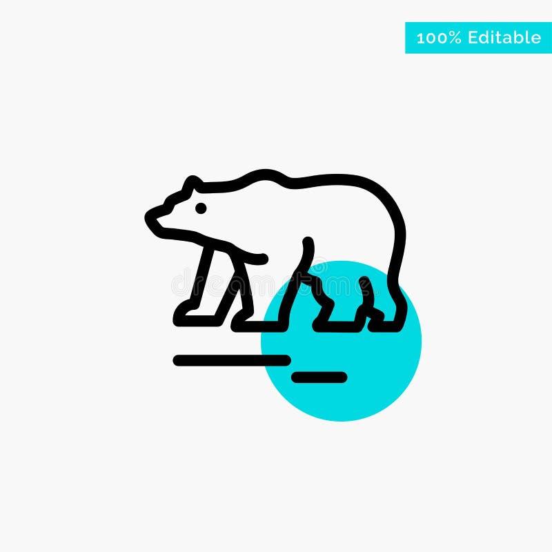 Το ζώο, αντέχει, πολικός, διανυσματικό εικονίδιο σημείου κυριώτερων κύκλων του Καναδά τυρκουάζ απεικόνιση αποθεμάτων
