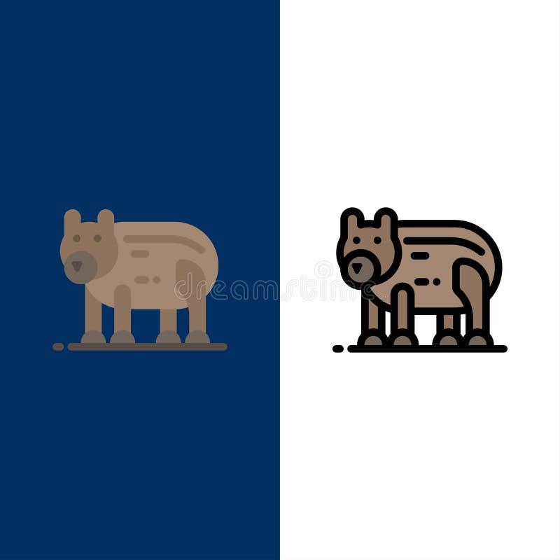 Το ζώο, αντέχει, πολικός, εικονίδια του Καναδά Επίπεδος και γραμμή γέμισε το καθορισμένο διανυσματικό μπλε υπόβαθρο εικονιδίων απεικόνιση αποθεμάτων