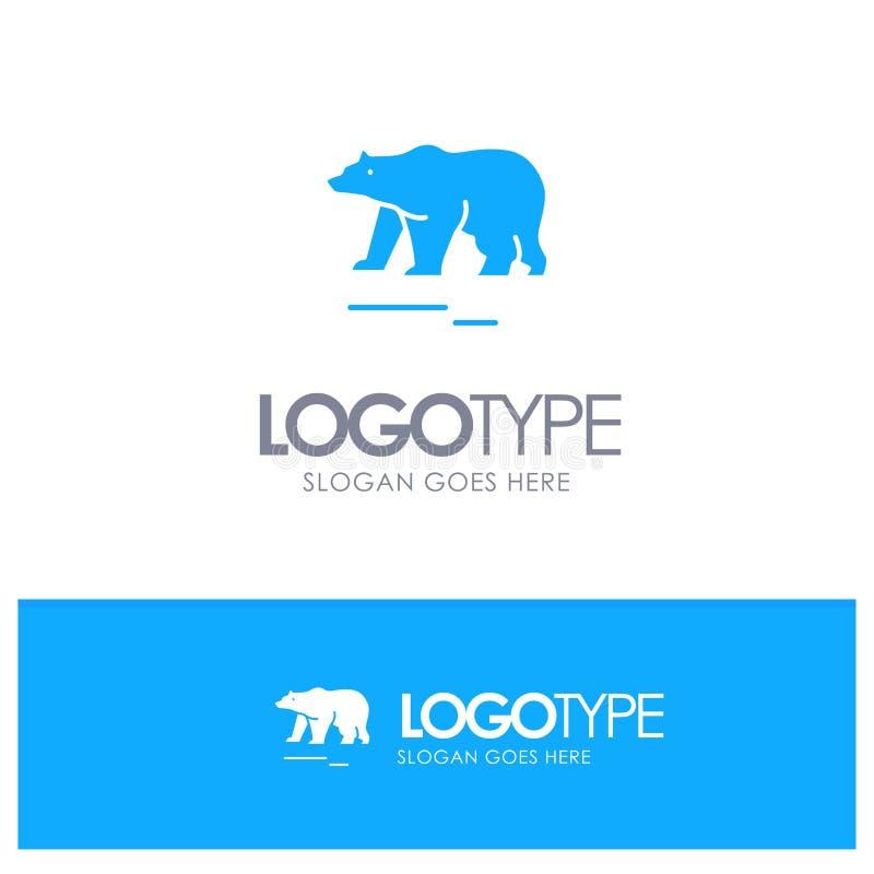 Το ζώο, αντέχει, πολικός, μπλε στερεό λογότυπο του Καναδά με τη θέση για το tagline ελεύθερη απεικόνιση δικαιώματος