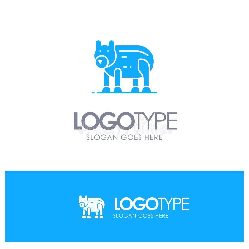 Το ζώο, αντέχει, πολικός, μπλε στερεό λογότυπο του Καναδά με τη θέση για το tagline απεικόνιση αποθεμάτων