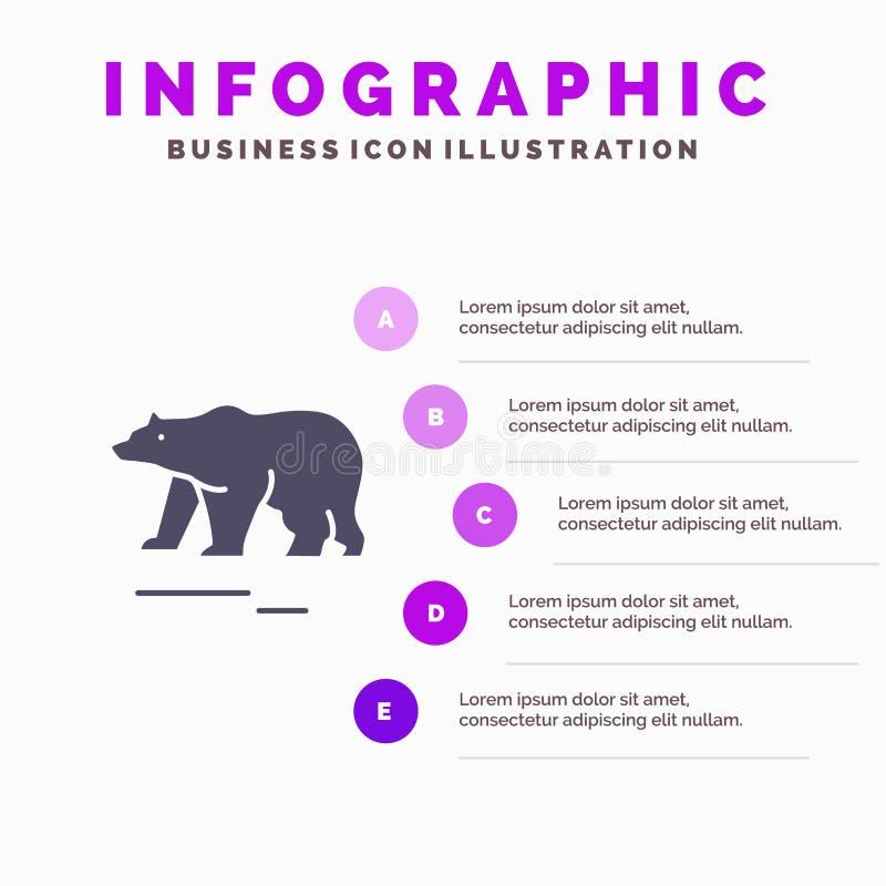 Το ζώο, αντέχει, πολικός, στερεό εικονίδιο Infographics 5 του Καναδά υπόβαθρο παρουσίασης βημάτων απεικόνιση αποθεμάτων