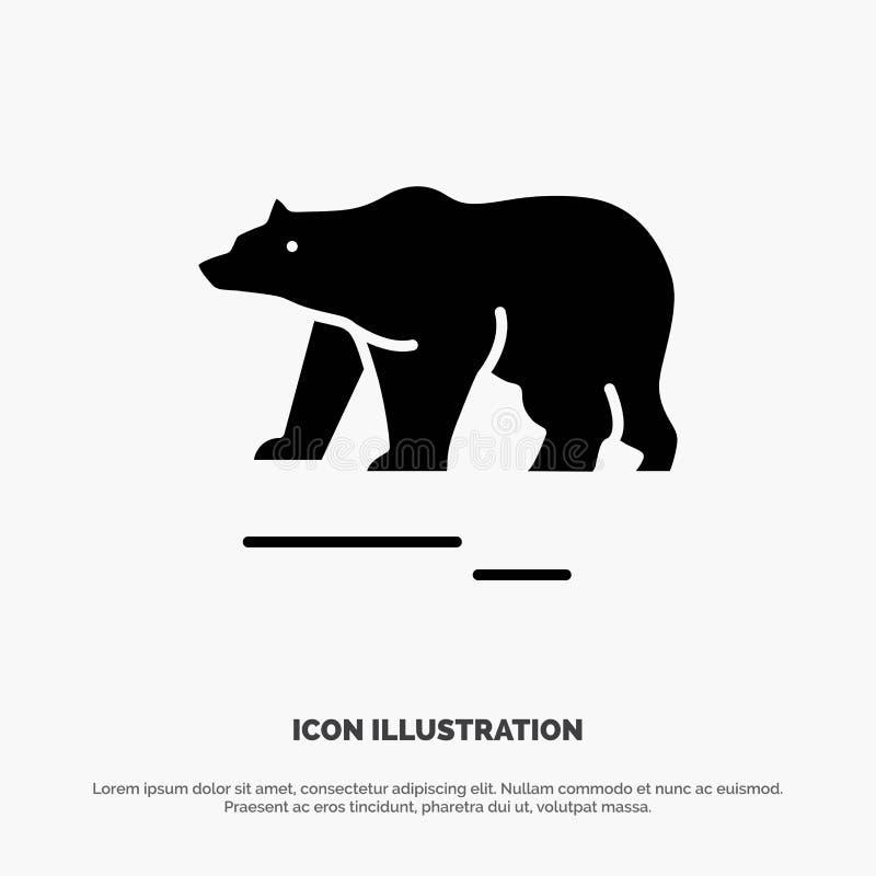 Το ζώο, αντέχει, πολικός, στερεό Glyph διάνυσμα εικονιδίων του Καναδά διανυσματική απεικόνιση