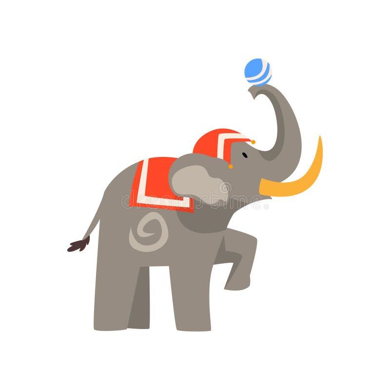 Το ζώο ελεφάντων που αποδίδει στο τσίρκο παρουσιάζει με τη διανυσματική απεικόνιση κινούμενων σχεδίων σφαιρών ελεύθερη απεικόνιση δικαιώματος