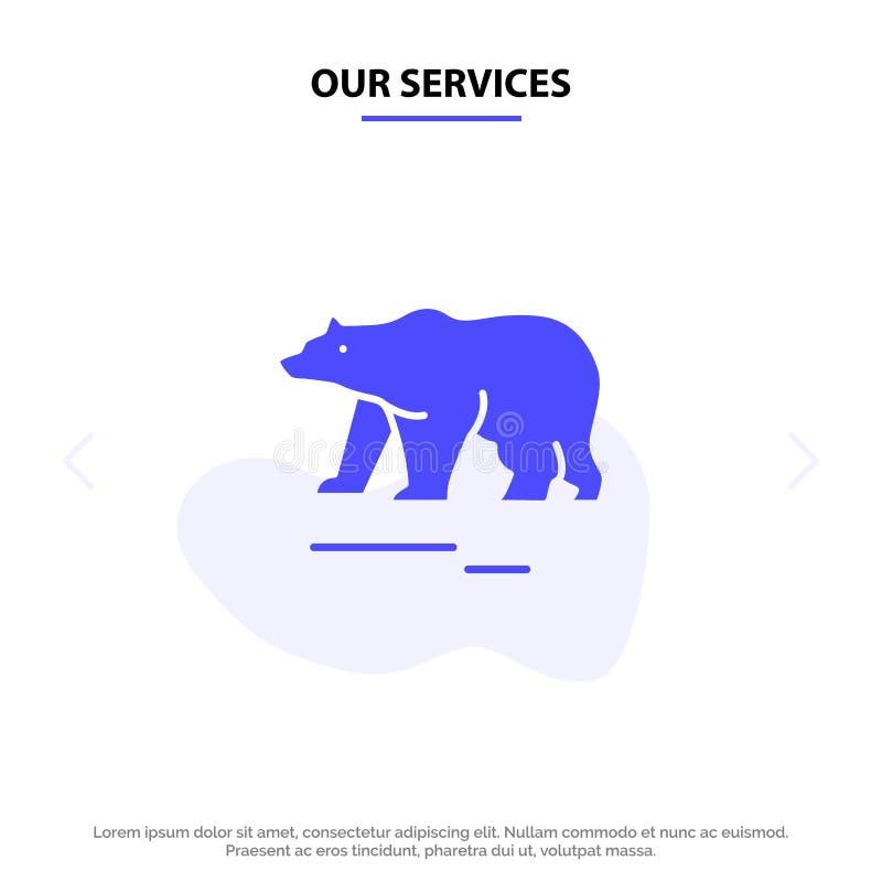 Το ζώο υπηρεσιών μας, αντέχει, πολικός, στερεό Glyph πρότυπο καρτών Ιστού εικονιδίων του Καναδά ελεύθερη απεικόνιση δικαιώματος