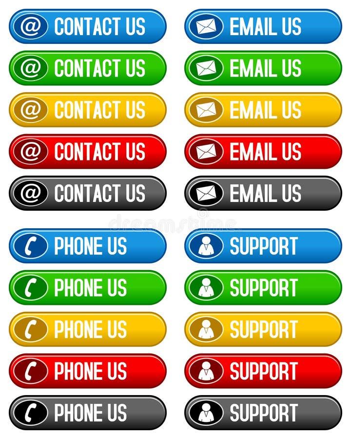 Το ηλεκτρονικό ταχυδρομείο επαφών τηλεφωνά μας στα κουμπιά ελεύθερη απεικόνιση δικαιώματος