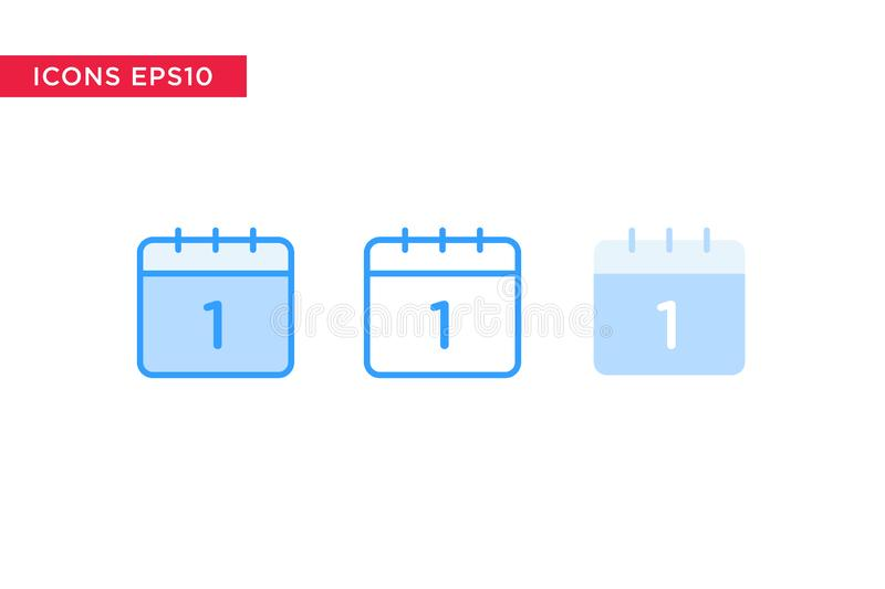 Το ημερολογιακό εικονίδιο στη γραμμή, περίληψη, γέμισε την περίληψη και το επίπεδο ύφος σχεδίου που απομονώθηκαν στο άσπρο υπόβαθ διανυσματική απεικόνιση