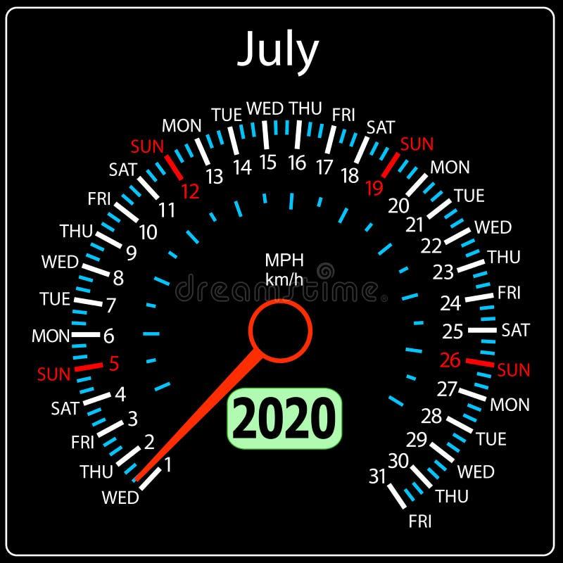 Το ημερολογιακό ταχύμετρο έτους του 2020 ένα αυτοκίνητο Ιούλιος ελεύθερη απεικόνιση δικαιώματος