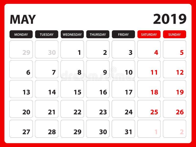 Το ημερολόγιο γραφείων για το πρότυπο το Μάιο του 2019, εκτυπώσιμο ημερολόγιο, πρότυπο σχεδίου αρμόδιων για το σχεδιασμό, εβδομάδ στοκ εικόνα με δικαίωμα ελεύθερης χρήσης