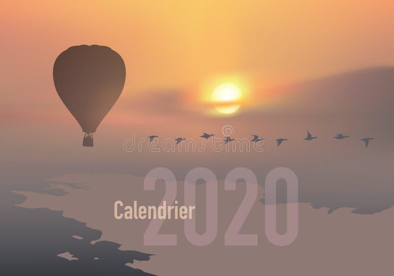 το ημερολόγιο του 2020 έτοιμο να τυπώσει στη γαλλική εκδοχή, που παρουσιάζει sunsets στα τοπία από τα μπαλόνια ελεύθερη απεικόνιση δικαιώματος