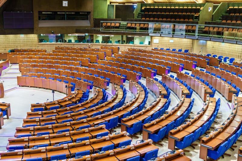 Το ημικύκλιο της κοινοβουλευτικής συνέλευσης του Συμβουλίου της Ευρώπης, ΡΥΘΜΟΣ Το CoE είναι οργάνωση ο της οποίας στόχος είναι στοκ εικόνα