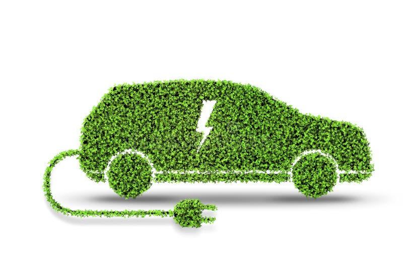 Το ηλεκτρικό πράσινο αυτοκίνητο που απομονώνεται στην άσπρη τρισδιάστατη απόδοση υποβάθρου απεικόνιση αποθεμάτων