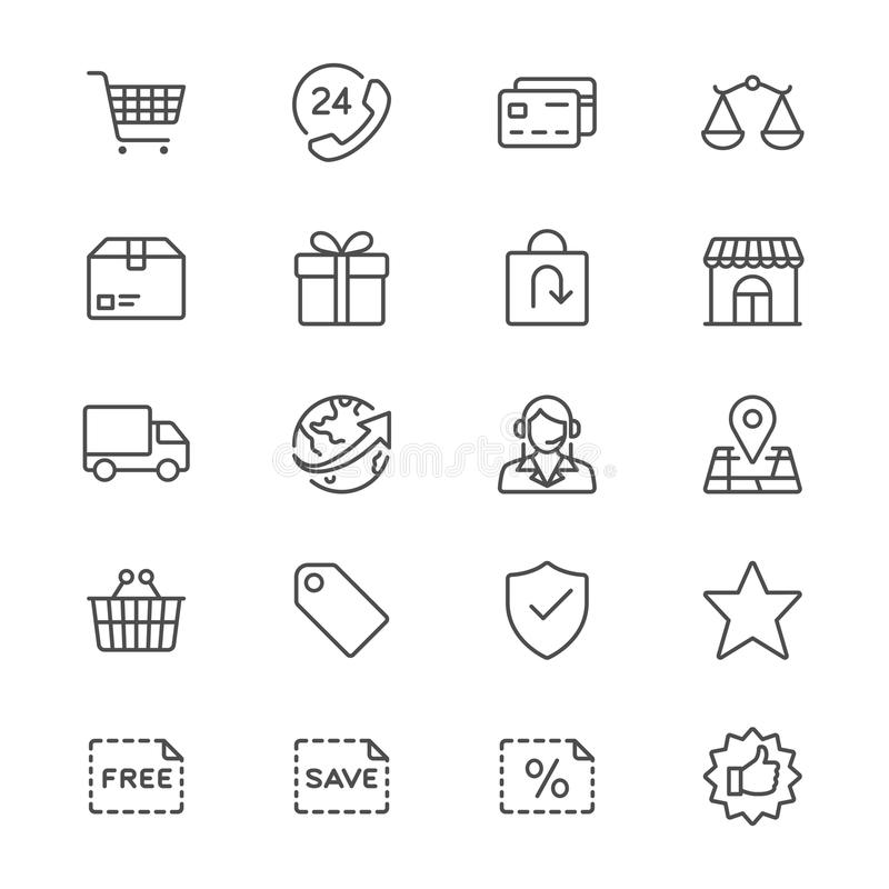 Το ηλεκτρονικό εμπόριο λεπταίνει τα εικονίδια ελεύθερη απεικόνιση δικαιώματος