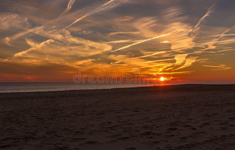 Το ηλιοβασίλεμα στο ακρωτήριο μπορεί να δείξει την ακτή του Νιου Τζέρσεϋ στοκ φωτογραφία