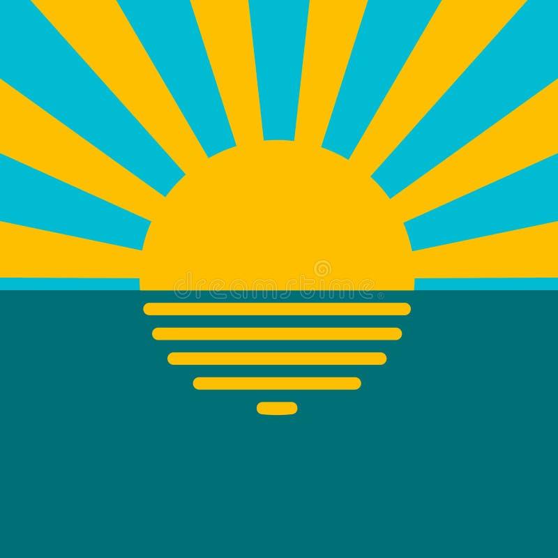 Το ηλιοβασίλεμα τοπίων στον ωκεάνιο, διανυσματικό ήλιο θάλασσας νερού στο υπόβαθρο μπλε ουρανού, οι αντανακλάσεις ανάβει στο νερό απεικόνιση αποθεμάτων