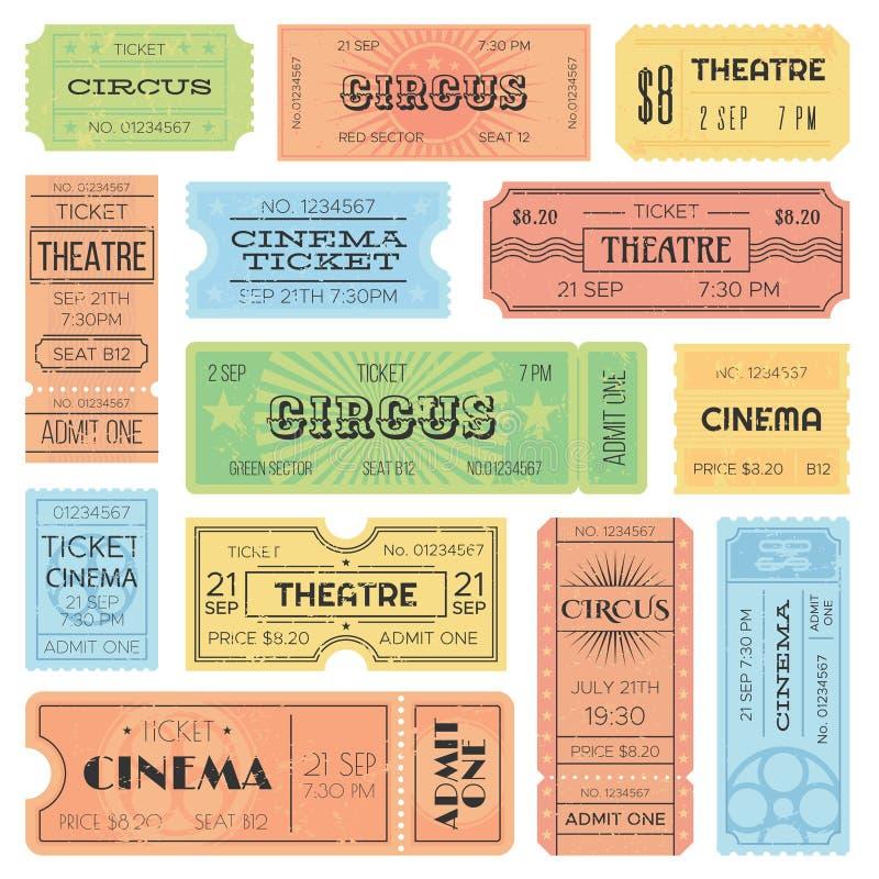 Το θέατρο ή ο κινηματογράφος αναγνωρίζει ένα εισιτήρια, τα δελτία τσίρκων και την εκλεκτής ποιότητας παλαιά παραλαβή Αναδρομικό δ διανυσματική απεικόνιση