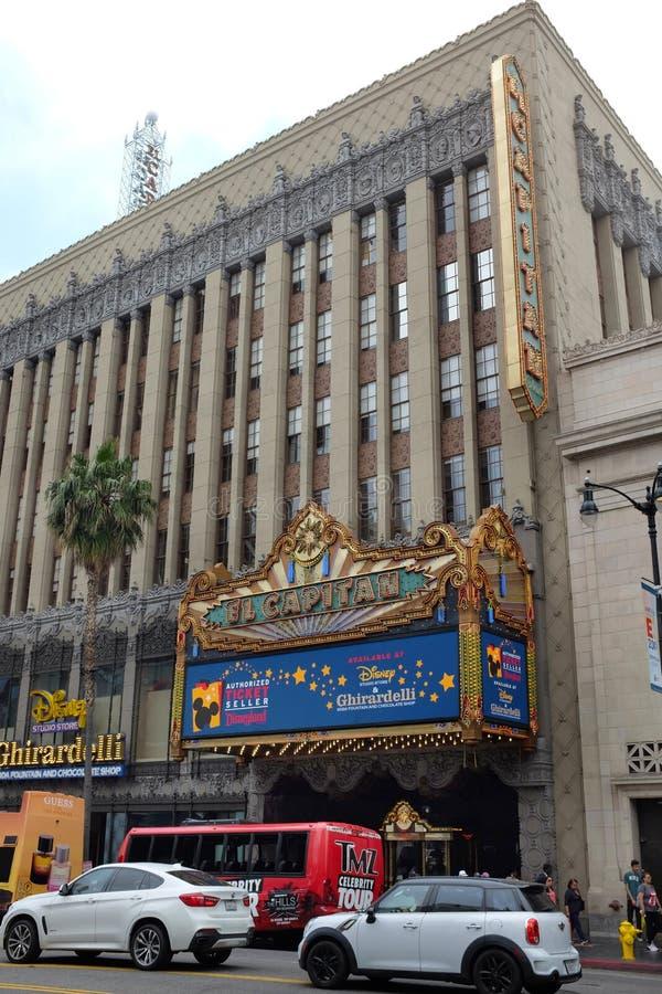 Το θέατρο EL Capitan είναι ένα πλήρως αποκατεστημένο παλάτι κινηματογράφων στη λεωφόρο Hollywood στοκ φωτογραφία με δικαίωμα ελεύθερης χρήσης