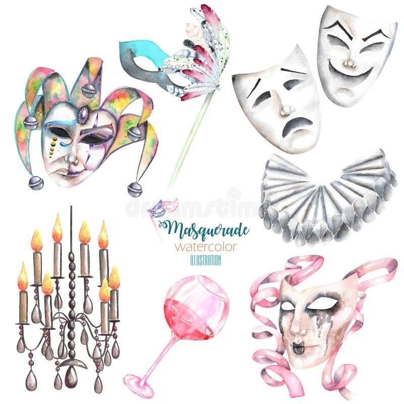 Το θέμα μεταμφιέσεων έθεσε με τις μάσκες στο ενετικό ύφος, τις μάσκες θεάτρων και τα στοιχεία καρναβαλιού ελεύθερη απεικόνιση δικαιώματος