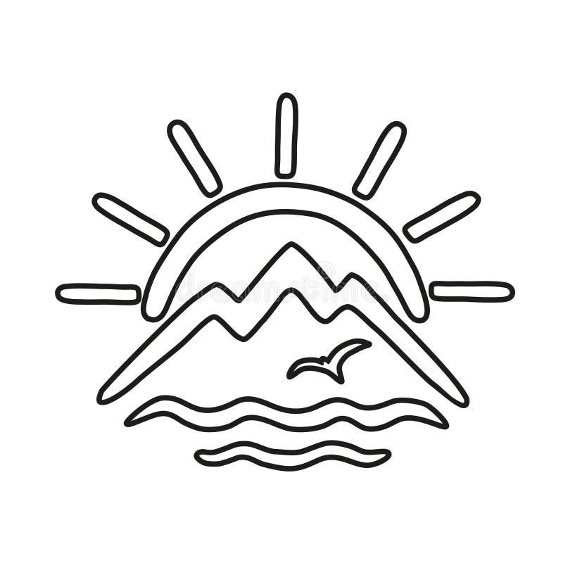 Το θέμα του ταξιδιού και της αναψυχής υπό μορφή τυποποιημένων ήλιου, βουνών, θάλασσας και γλάρων Διανυσματικό εικονίδιο περιλήψεω απεικόνιση αποθεμάτων