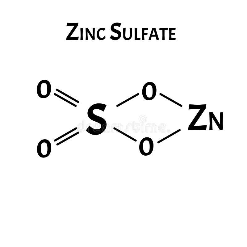 Το θειικό ψευδάργυρο είναι ένας μοριακός χημικός τύπος Γραφικά ψευδαργύρου Απεικόνιση διανύσματος σε απομονωμένο φόντο απεικόνιση αποθεμάτων