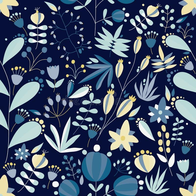 Το θερινό άνευ ραφής σχέδιο με τον καλό ανθίζοντας κήπο ανθίζει, άγρια ανθίζοντας φυτά και μούρα στο μπλε υπόβαθρο χαριτωμένος διανυσματική απεικόνιση