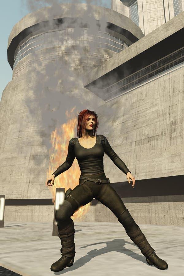 το θηλυκό έκρηξης πρακτόρων αντιδρά διανυσματική απεικόνιση