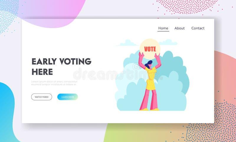 Το θηλυκό έμβλημα ψηφοφορίας εκμετάλλευσης χαρακτήρα στα χέρια, νομοταγής πολίτης εκτελεί τα δικαιώματα και τα καθήκοντα στην πολ απεικόνιση αποθεμάτων