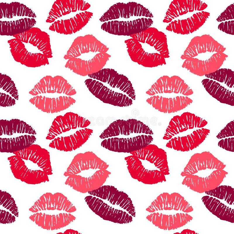 Το θηλυκό διαφορετικό χρωματίζει το φιλί κραγιόν που απομονώνεται στο άσπρο υπόβαθρο άνευ ραφής διάνυσμα προτύπων ελεύθερη απεικόνιση δικαιώματος