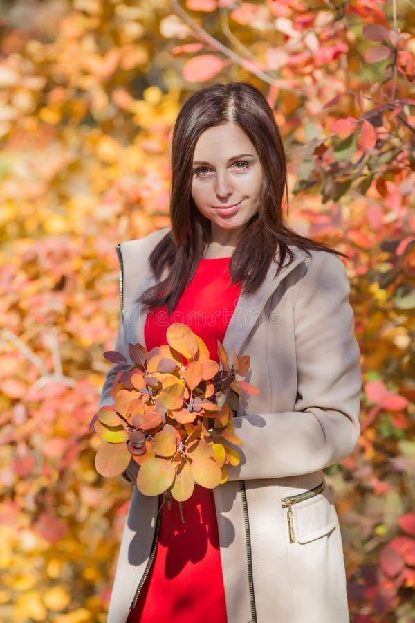 Το θηλυκό πρόσωπο με την ανθοδέσμη από το φθινόπωρο βγάζει φύλλα την τοποθέτηση ενάντια στους ζωηρόχρωμους θάμνους στοκ εικόνες