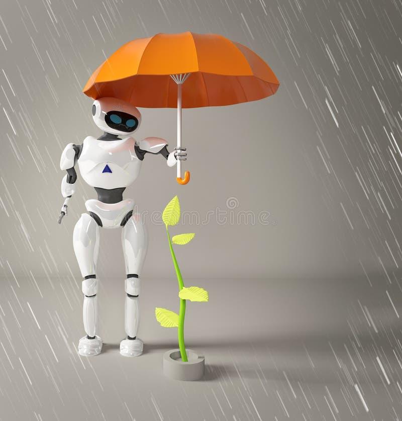Το θηλυκό ρομπότ προστατεύει το νεαρό βλαστό, εγκαταστάσεις, τρισδιάσ απεικόνιση αποθεμάτων