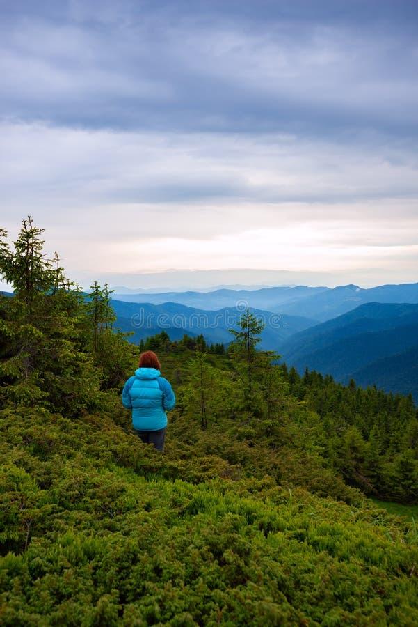 Το θηλυκό τυχοδιωκτών στέκεται στη βουνοπλαγιά στοκ εικόνες με δικαίωμα ελεύθερης χρήσης