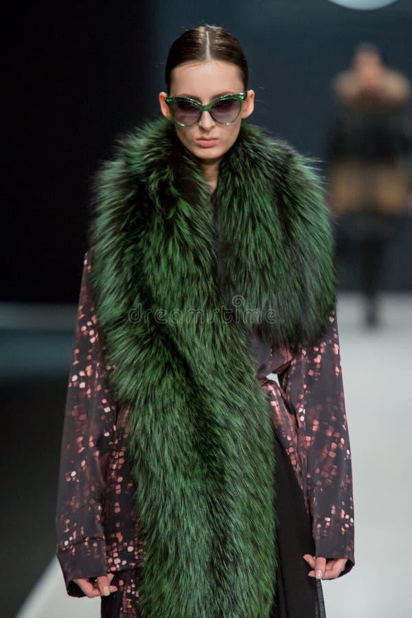 Το θηλυκό πρότυπο στη επίδειξη μόδας Valentin Yudashkin στην εβδομάδα μόδας της Μόσχας, πτώση-χειμώνας 2016/2017 στοκ εικόνες με δικαίωμα ελεύθερης χρήσης