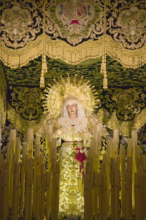 Το θρησκευτικό καθολικό άγαλμα βλέπει στον καθεδρικό ναό της Σεβίλλης, νότια Ισπανία στοκ φωτογραφία