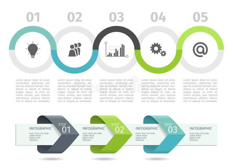 Το διάγραμμα και τα βέλη διαδικασίας Infographic με επιταχύνουν τις επιλογές δρύινο διάνυσμα προτύπων κορδελλών φύλλων δαφνών συν διανυσματική απεικόνιση