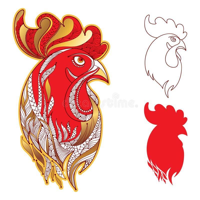 Το διάνυσμα έθεσε με το επικεφαλής σχεδιάγραμμα κοκκόρων ή κοκκόρων στο χρυσό και το κόκκινο στο λευκό Σύμβολο του νέου έτους 201 διανυσματική απεικόνιση