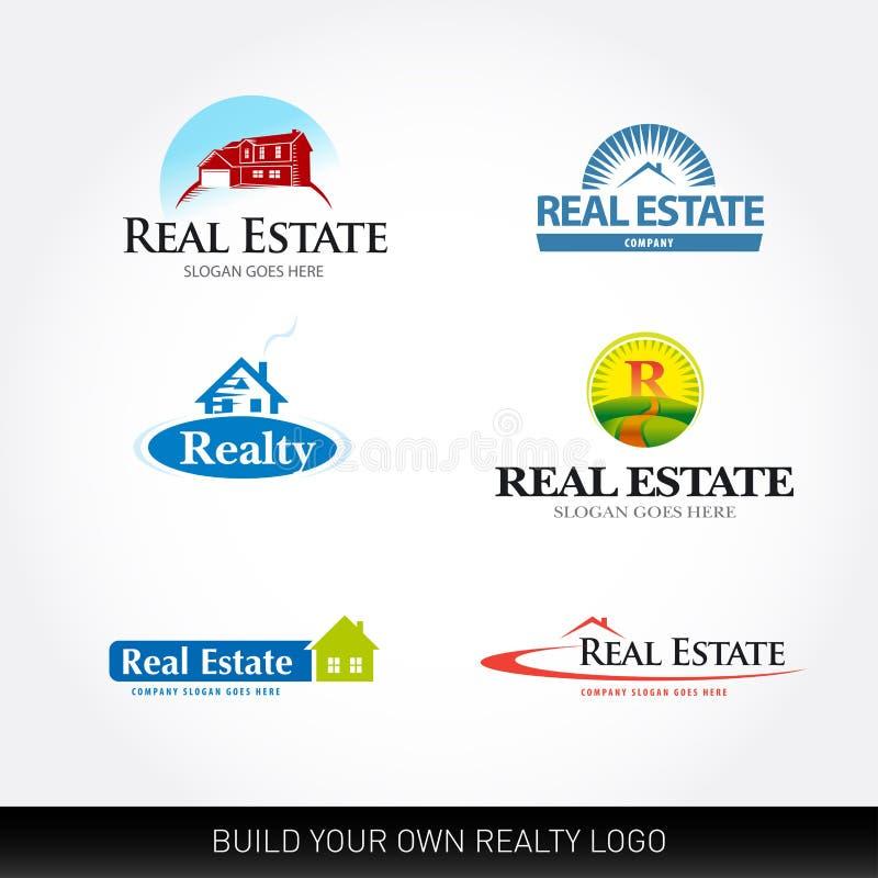 Το διάνυσμα ακίνητων περιουσιών logotypes έθεσε Πρότυπο σχεδίου λογότυπων ακίνητων περιουσιών Λογότυπα Realty ελεύθερη απεικόνιση δικαιώματος