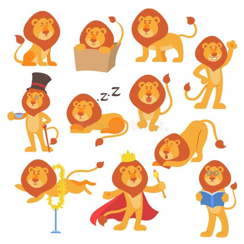 Το διάνυσμα μασκότ λιονταριών θέτει την ευτυχή ζωική απεικόνιση ζουγκλών γατών θηλαστικών σαφάρι χαρακτήρα κινούμενων σχεδίων χαρ διανυσματική απεικόνιση