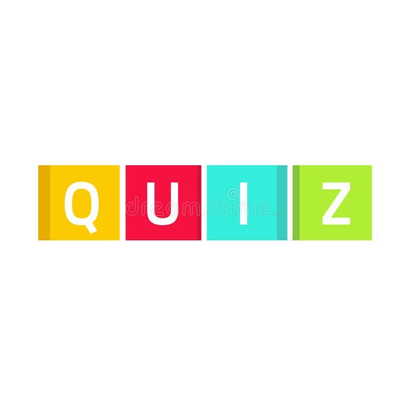 Το διάνυσμα λογότυπων διαγωνισμοου γνώσεων, ερωτηματολόγιο παρουσιάζει έννοια εικονιδίων, κύβοι παιχνιδιών που απομονώνονται ελεύθερη απεικόνιση δικαιώματος