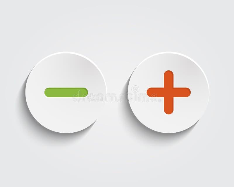 Το διάνυσμα προσθέτει, ακυρώνει, ή συν και μείον τα σημάδια επάνω απεικόνιση αποθεμάτων