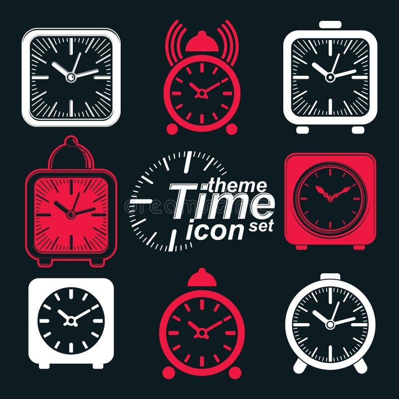 Το διάνυσμα τακτοποίησε τα τρισδιάστατα ξυπνητήρια με το κουδούνι ρολογιών ελεύθερη απεικόνιση δικαιώματος