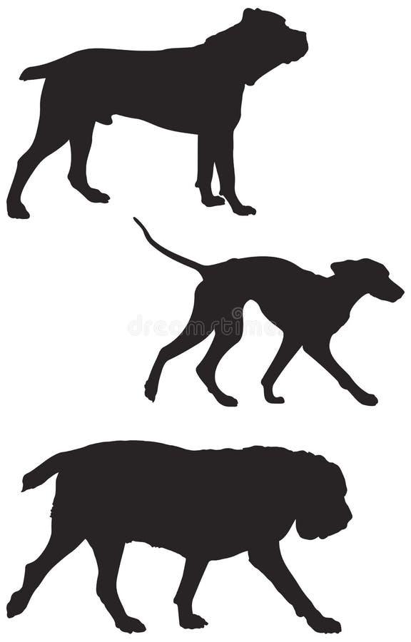 Το διάνυσμα φυλών σκυλιών σκιαγραφεί 5 απεικόνιση αποθεμάτων