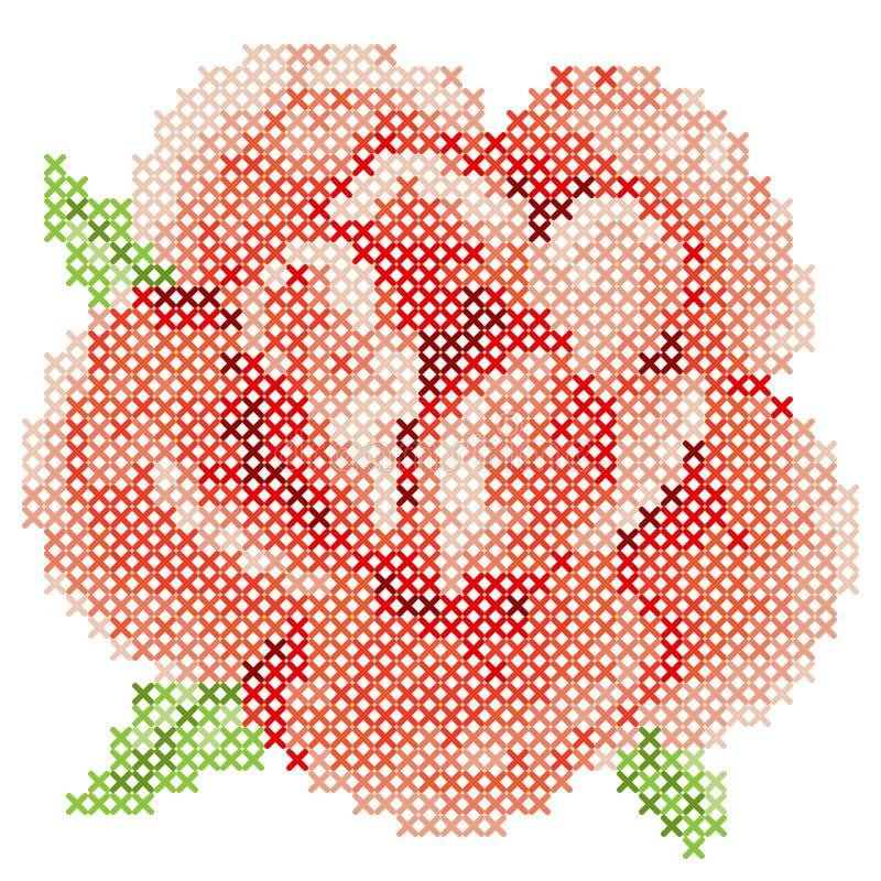 Το διαγώνιο κόκκινο βελονιών αυξήθηκε ελεύθερη απεικόνιση δικαιώματος