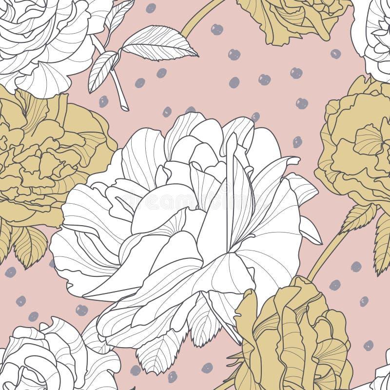 Το διανυσματικό άνευ ραφής ρόδινο σχέδιο με το χέρι που σύρθηκε αυξήθηκε λουλούδια Floral απεικόνιση με τα άσπρα και χρυσά τριαντ απεικόνιση αποθεμάτων