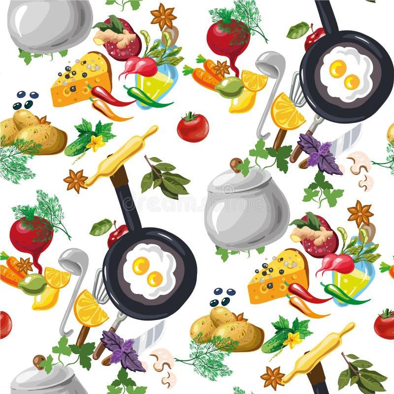 Το διανυσματικό άνευ ραφής σχέδιο με τα λαχανικά δίνει συμένος απεικόνιση αποθεμάτων