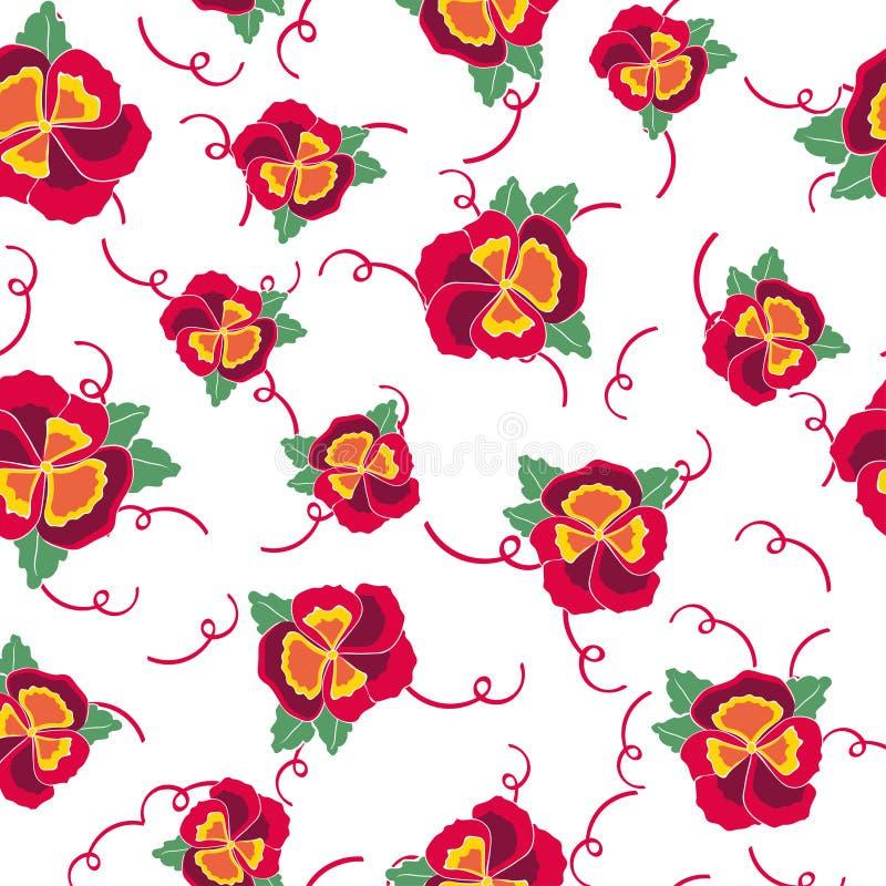 Το διανυσματικό άνευ ραφής υπόβαθρο με ζωηρόχρωμο pansy, βγάζει φύλλα, λουλούδια hydrangea Κορδέλλα σχεδίων για το ανθοπωλείο, γά διανυσματική απεικόνιση