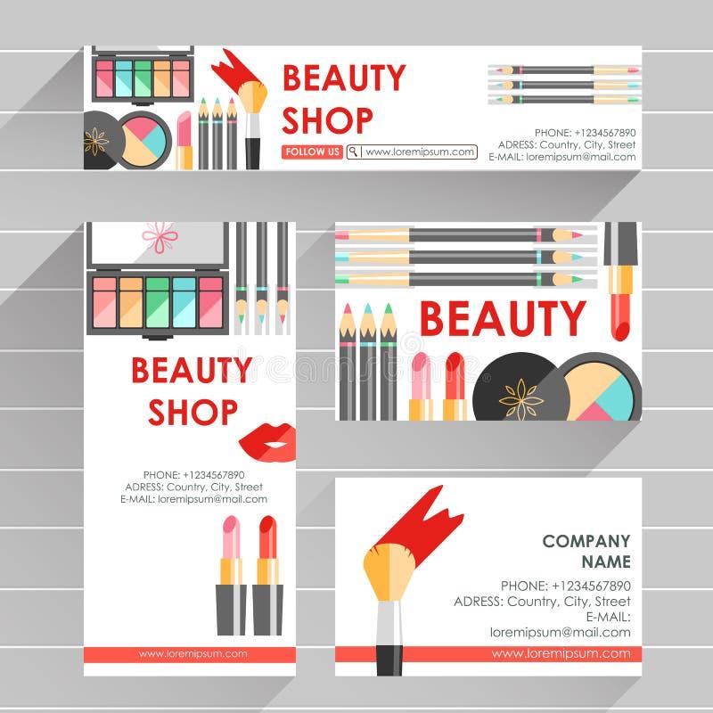 Το διανυσματικό επίπεδο έτοιμο πρότυπο σχεδίου για τον καλλιτέχνη makeup, makeup στερεώνει ελεύθερη απεικόνιση δικαιώματος