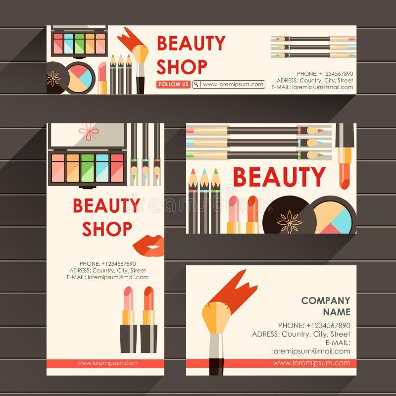 Το διανυσματικό επίπεδο έτοιμο πρότυπο σχεδίου για τον καλλιτέχνη makeup, makeup στερεώνει απεικόνιση αποθεμάτων