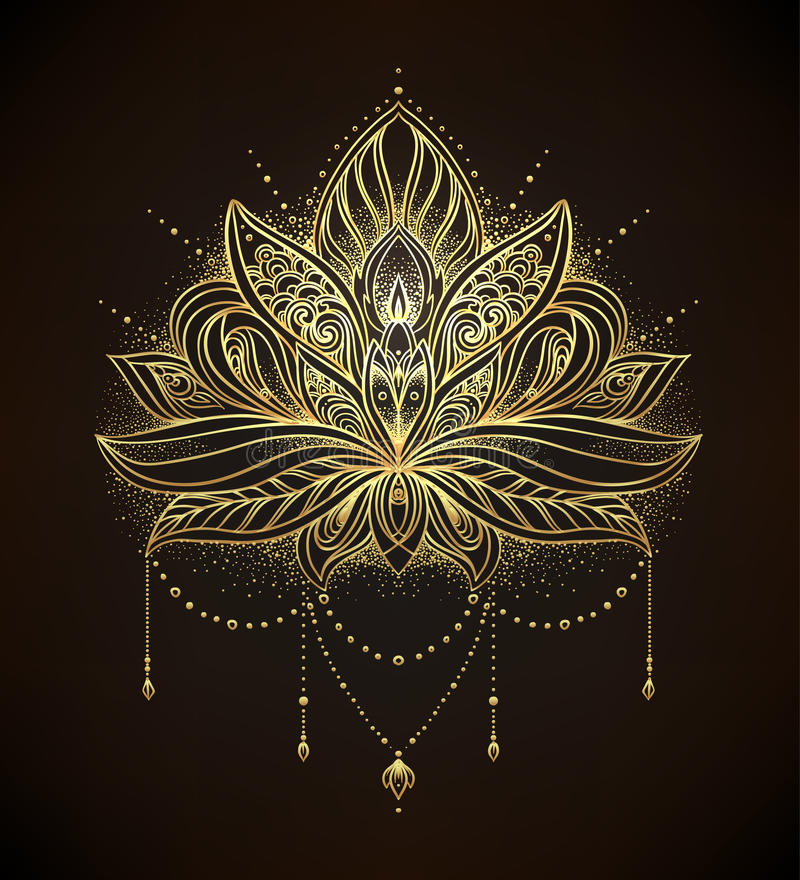 Το διανυσματικό διακοσμητικό λουλούδι Lotus, εθνική τέχνη, διαμόρφωσε το ινδικό pai απεικόνιση αποθεμάτων