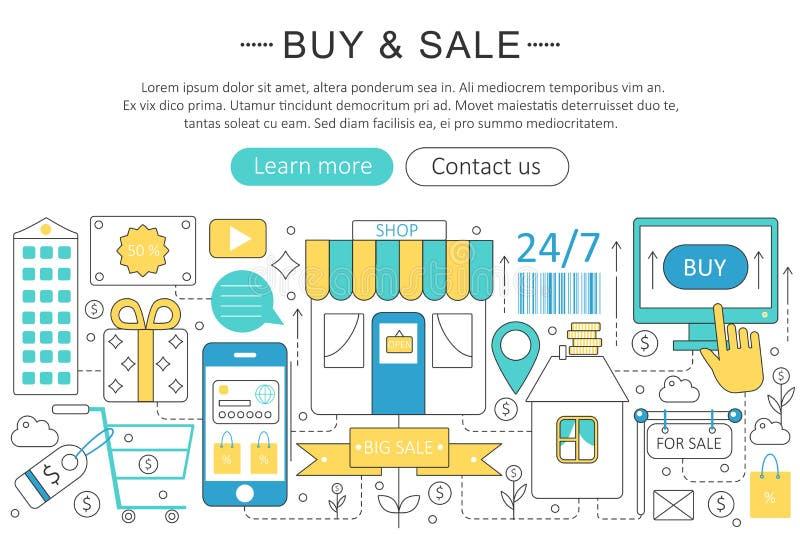 Το διανυσματικό κομψό λεπτό σχέδιο σύγχρονης τέχνης γραμμών επίπεδο αγοράζει και πωλεί την έννοια εμπορίου απεικόνιση αποθεμάτων